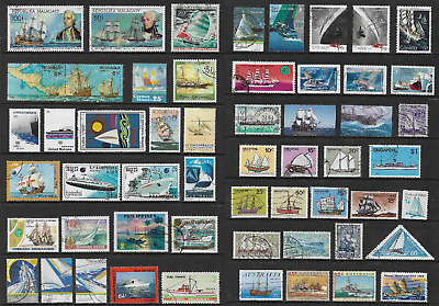 WORLD STAMPS, Themes on Pages, SHIPS, BOATS, used CTO mint