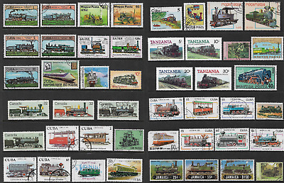 WORLD STAMPS, Themes on Pages, TRAINS, used CTO mint