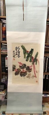 FINE CHINESE HAND PAINTED PAINTING Chestnuts SCROLL Signed