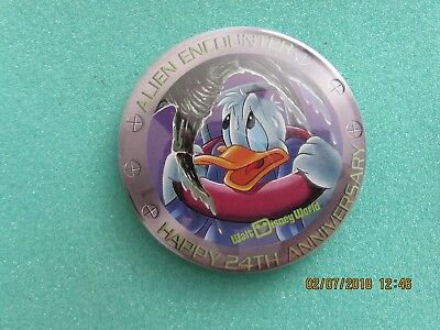 "Walt Disney World HAPPY 24TH ANNIVERSARY ""ALIEN ENCOUNTER"" Pin WDW Button"