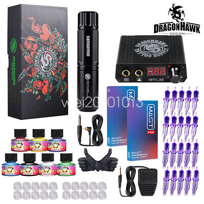 Complete Tattoo Kit Motor Pen Machine Gun Color Inks Power Supply Needles D3017E