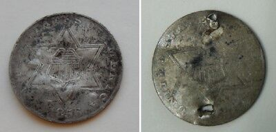 Two (2)  1856 3 Cent Silver ~ 3c Coins