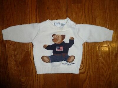 Pre-Owned Infant 0-6 Months Boy's Ralph Lauren Ivory Bear Sweater with Flag