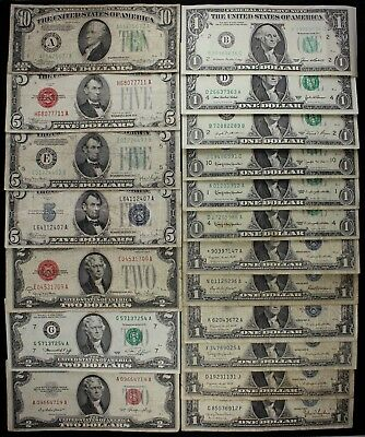 $43 Dollars old US money $10 $5 $2 $1 FRN US notes silver certs Star '28-'03 FSP