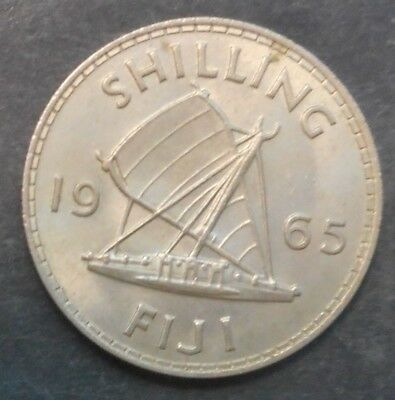 Fiji 1965 QEII  Shilling  Outrigger  Coin  UNC Mint lustre