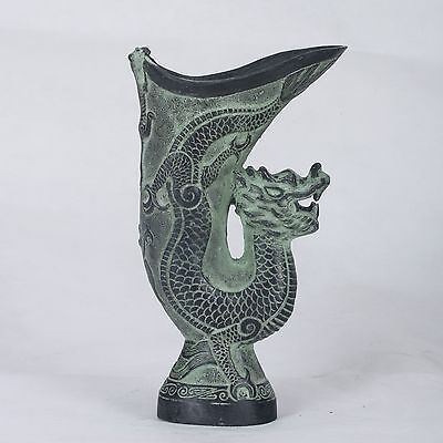 Chinese Bronze Handwork Carved  Dragon  Cup ( A drinking tool)QT011