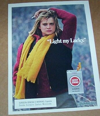 1986 print ad -Lucky Strike Cigarettes- sexy girl smoking vintage tobacco Advert