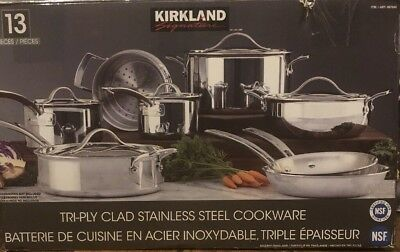 Kirkland Signature 13 Pieces Tri Ply Clad Stainless Steel Cookware