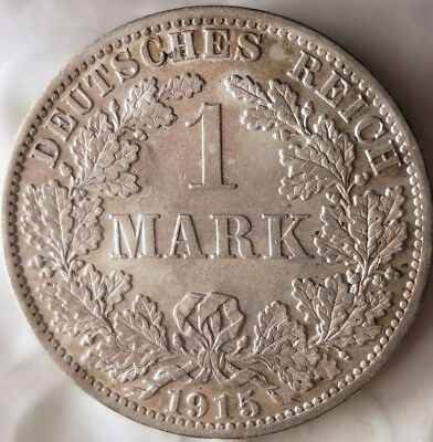 1915 GERMAN EMPIRE MARK - EXCELLENT Vintage Silver Coin - Lot #M17