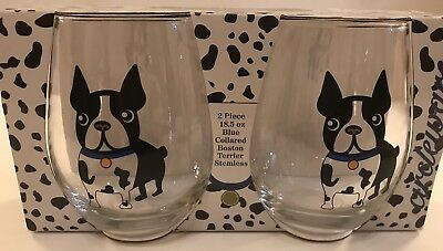 BOSTON TERRIER DOG WINE WATER GLASS TUMBLER SET 2 JOE BOSTON New