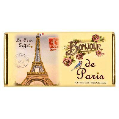 French Milk Chocolate Tablet 100g by Marie Bouvero of Paris, Eiffel Tower Bon...
