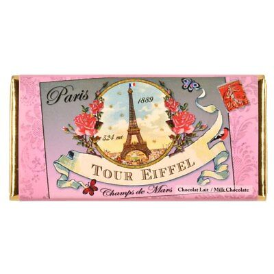 French Milk Chocolate Tablet 100g by Marie Bouvero of Paris, Eiffel Tower Cha...