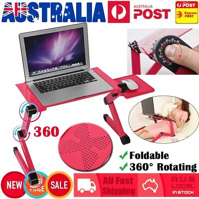 Adjustable Portable Laptop Computer Stand Desk Table Tray Bed Mouse Holder Red L