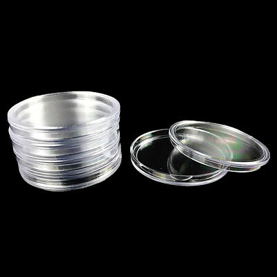 10Pcs 40mm Round Acrylic Cases Box Coin Storage Applied Capsules Holders Display
