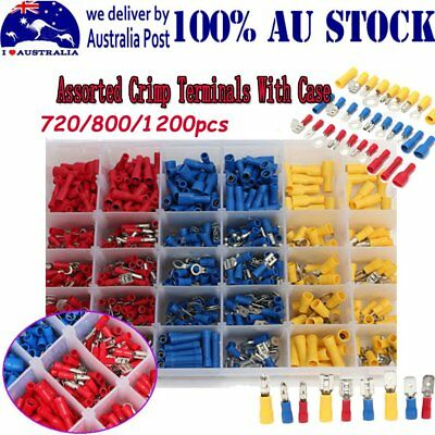 Electrical Wire Connector Assorted Insulated Crimp Terminals Spade Set Kit
