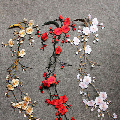Embroidered Plum Blossom Flower Patch Iron/Sew on Applique Motif Craft BAUG