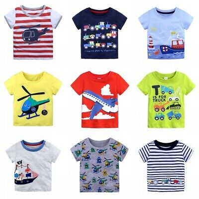 Boys Tractor T-Shirt Age 18 24 Mths 2 3 4 5 6 Yrs Kids Navy T-shirts Top Clothes