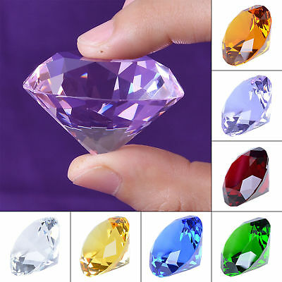 New 20-80mm Crystal Paperweight Cut Glass Giant Diamond Shape Jewel Decor Gift