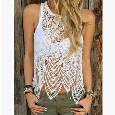 Sexy Women Clubbing Sleeveless Blouse Lace Back Top Party Shirt