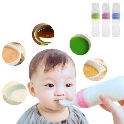 Baby Food Dispensing Spoon Infant Silicone Feeder Rice Cereal Safe Bottle Feeder