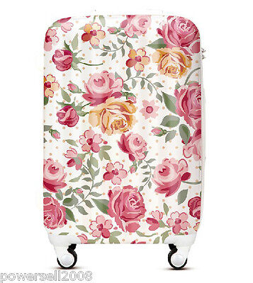 "28""New TSA Lock Universal Wheel Red Flowers Print ABS+PC Travel Suitcase Luggage"
