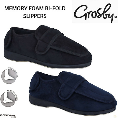 GROSBY Bi-Fold Men's Slippers Scuffs Shoes Indoor Outdoor Memory Foam Moccasins
