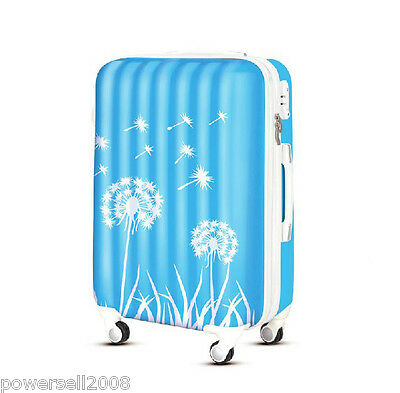 "28"" TSA Lock Universal Wheel Blue Dandelion ABS+PC Travel Suitcase Luggage"