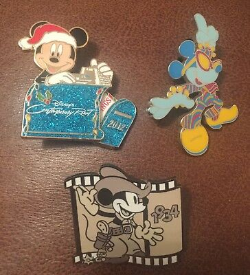 Disney Pin Mickey Mouse Contemporary LE Pin Hipster Cowboy X 3 Pins Lot Bundle