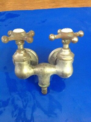 Antique Nickel Brass Claw Foot Bathtub Faucet Old Vtg Nickel Brass Original