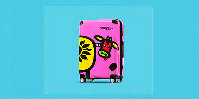 "28"" Purple Cartoon Cow TSA Lock ABS+PC Universal Wheel Suitcase Luggage Trolley"