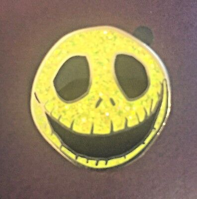 Disney Pin Jack Skellington Yellow Glitter Face Head Nightmare Before Christmas