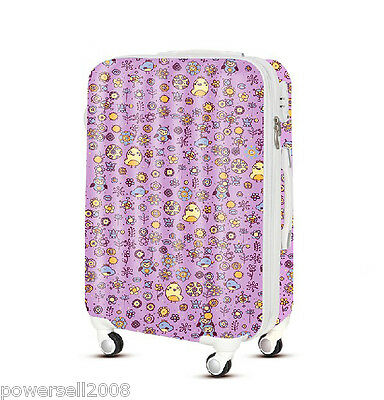 "28"" TSA Lock Universal Wheel Pink Bird Pattern ABS+PC Travel Suitcase Luggage"