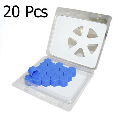 20Pcs Blue Car Silicone Wheel Lug Nut Rim Bolt Cover Protect Hub Screw Caps 17mm