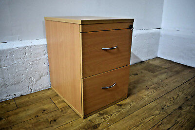 Beech 2 Drawer Filing Cabinet Desk Height Foolscap Lockable W/Key