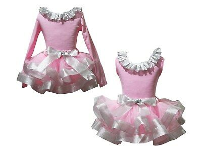 Plain Lacing Pink Cotton Top Bling Silver Satin Trim Skirt Girl Outfit Set NB-8Y