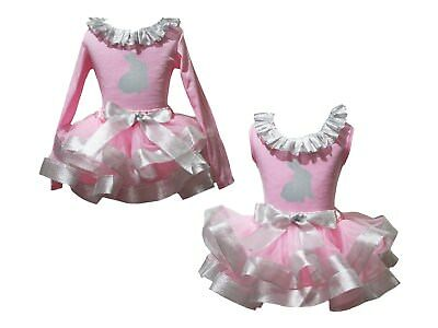 Silver Easter Rabbit Lacing Pink Top Bling Silver Trim Skirt Girls Outfit NB-8Y
