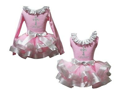 Catholicism Lacing Pink Top Bling Silver Satin Trim Skirt Girls Outfit Set NB-8Y