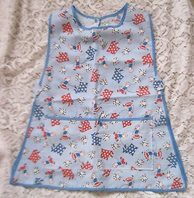 Little Girls Adorable Over the Head Smock~Blue w/Kids/Dogs/Kite Print~New