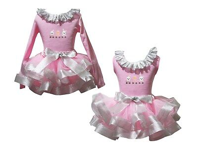 Rabbit Train Lacing Pink Top Bling Silver Satin Trim Skirt Girl Outfit Set NB-8Y