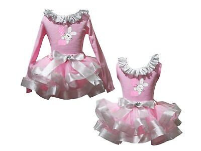 1st Bunny Lacing Pink Top Bling Silver Satin Trim Skirt Girls Outfit Set NB-8Y