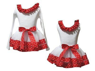 Plain Lacing White Top Red Sailor Star Satin Trim Skirt Girls Outfit Set NB-8Y
