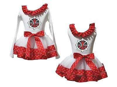 Sailor Lacing White Top Red Sailor Star Satin Trim Skirt Girls Outfit Set NB-8Y