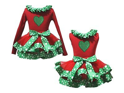 Sequins Heart Lacing Red Top Green White Dots Trim Skirt Girls Outfit Set NB-8Y