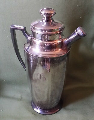 Martini Cocktail Shaker~Homan Plate on Nickel Silver W.M. Mounts, Made in USA