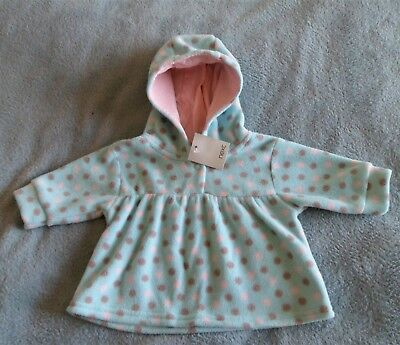Baby Girls Lovely Blue Spotted Hooded Fleece Top By Next Age 0-1 Months Bnwt