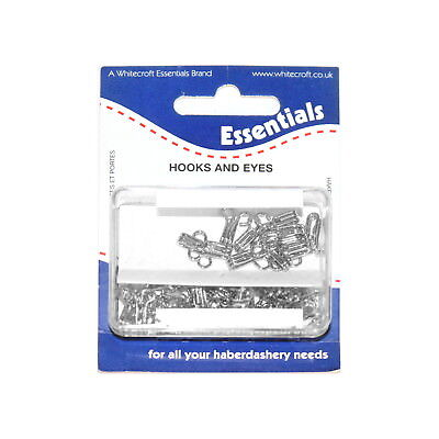 24 sets of Nickel plated brass hooks and eyes in re-usable plastic box, size 3