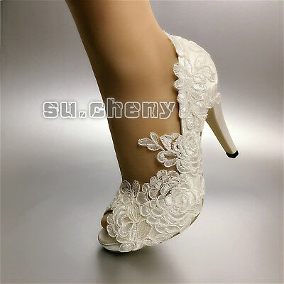 "3"" 4"" heels white ivory fine satin lace open toe Wedding shoes bride size 5-11"