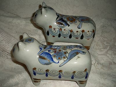 Lot Of 2 Co-Ordinated Cat Ornaments By Mexican Artist ~ Palomar ~ Signed!!
