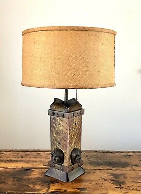 Antique Arts & Crafts Bronzed Cast Iron Gothic Table Lamp w/ Monk Faces Vintage