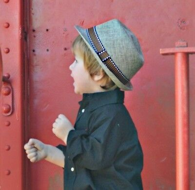 "Tan Linen Fedora Toddler Hat  and Brown Faux-Leather 30"" Adjustable Suspenders"
